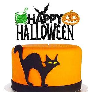 Happy Halloween Cake Topper, Halloween Party Decorations for Bat Pumpkin Medicine Jar Theme Birthday Party Supplies, Black Sparkle Happy Halloween Cake Decor