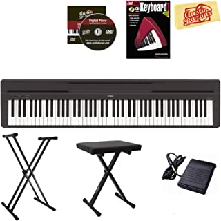 Yamaha P-45 Digital Piano - Black Bundle with Adjustable Stand, Bench, Instructional Book, Austin Bazaar Instructional DVD...