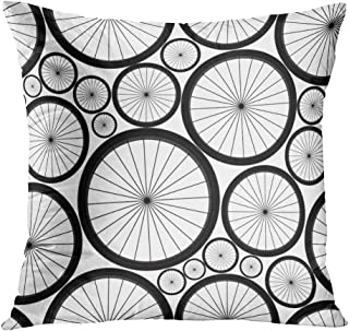 Llsty Throw Pillow Cover Polyester Print Cute Bike Wheels Bicycle Wheel Life Style Black Family Ride White Soft Square for Couch Sofa Bedroom Pillowcase Home Style Cushion Case 16 x 16 inches