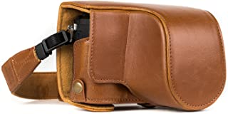 MegaGear Panasonic Lumix DMC-GX85, DMC-GX80 (12-32mm) Ever Ready Leather Camera Case and Strap, with Battery Access - Light Brown - MG1302
