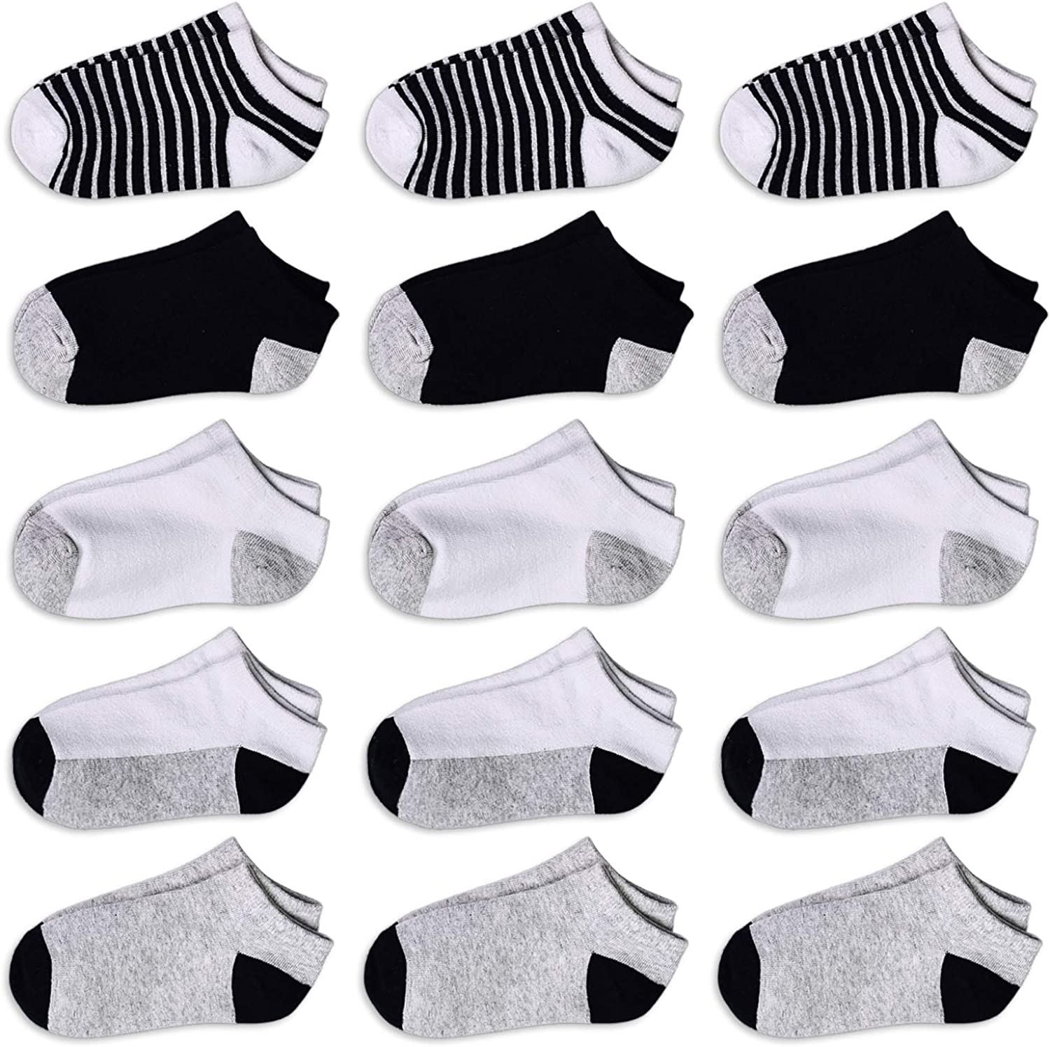 Toddler No Show Socks Kids Low Cut 15 Pairs Socks For Big Boys/Girls Half Cushion Athletic Ankle Exercise Socks 1-10T Kids