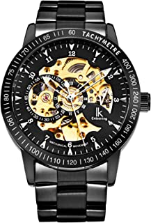 IK Men's Watch Skeleton Automatic Mechanical Wristwatch, Silver Golden Dial Tachymeter Black Stainless Steel Casual Steampunk Watch
