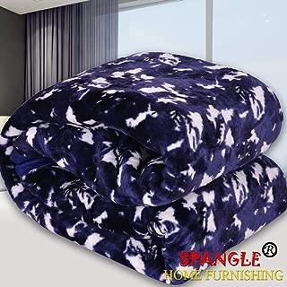 Spangle Designer Printed Mink Double Blanket (Blue)