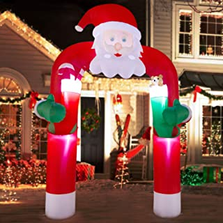 YIHONG 12 Ft Christmas Inflatables Santa Claus Archway Decorations with Teddy Bear and Candy Cane - Blow up Party Decor for Indoor Outdoor Yard with LED Lights