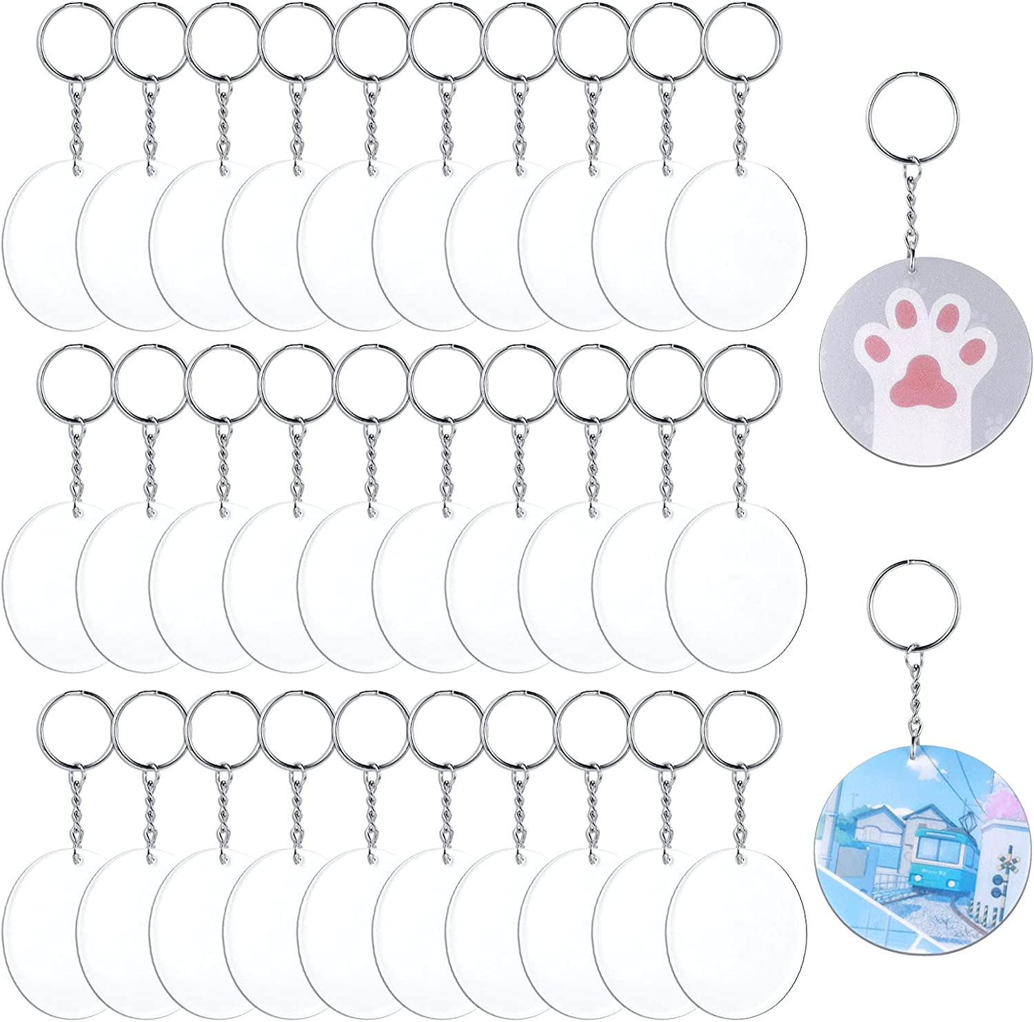 Acrylic Keychain Blanks GLIHRO 90 Denver Mall Clear Outstanding for Keychains Pcs Vinyl