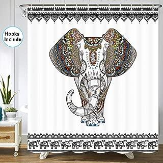 Elephant Shower Curtain, Ethnic Indian Mandala Floral Paisley Sacred Animal Head Hippie Southwestern Aztec Vintage African Tribal Bath Curtain Decor, Fabric Shower Curtain Hooks Include, 72 X 72 Inch