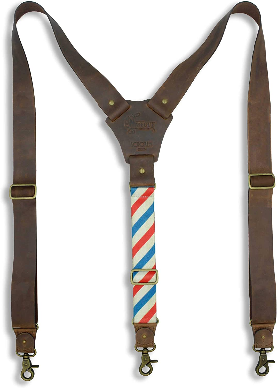 Suspenders Dark Brown Leather Flex Wide 1.36 inch | Wiseguy Original
