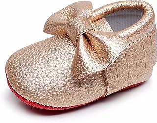 HONGTEYA Soft Sole Shoes - PU Leather Newborn Baby Shoes Girl Boy Moccasins Fringe Bow Crib Shoes