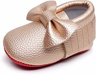 HONGTEYA Soft Sole Shoes - PU Leather Newborn Baby Shoes Girl Boy Moccasins Fringe Bow Crib Shoes