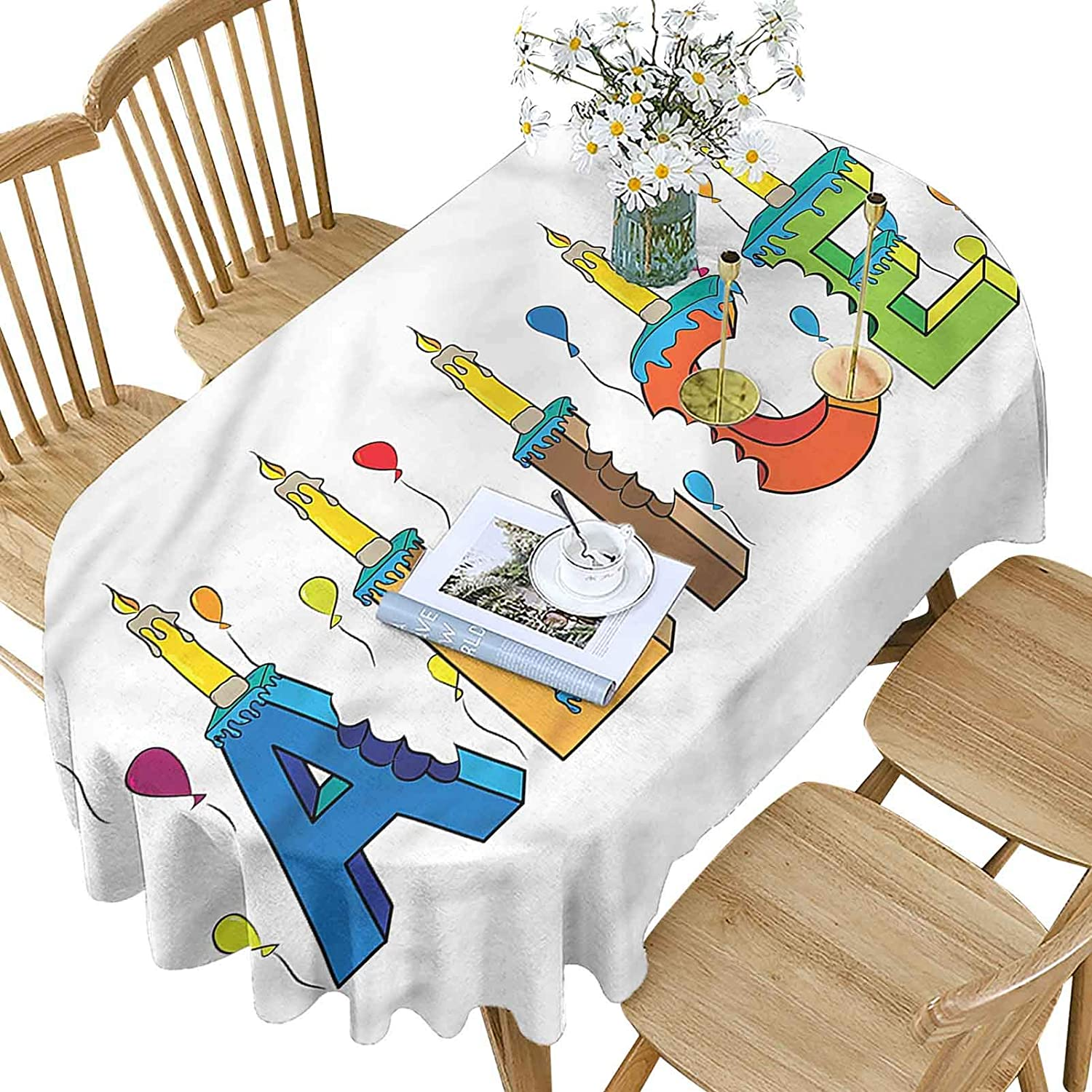 Alice Polyester Max 55% OFF Oval Tablecloth Colorful Max 60% OFF Patter Girl Name Design