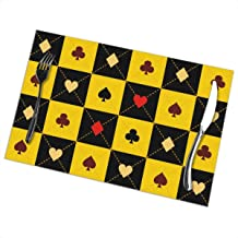 Card Suits Yellow Black Chess Board Diamond 1218inch Manteles Set of 6 for Dining Table Washable Polyester Placemat Non-Slip Heat Resistant Kitchen Table Mats Easy to Clean