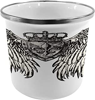 Lunarable Fleur De Lis Metal Camping Cup, Tribal Tattoo Design with Wings Historic Crest Crown and Eagle, Stainless Steel Mug for Indoor and Outdoor Activities, Eggshell Black