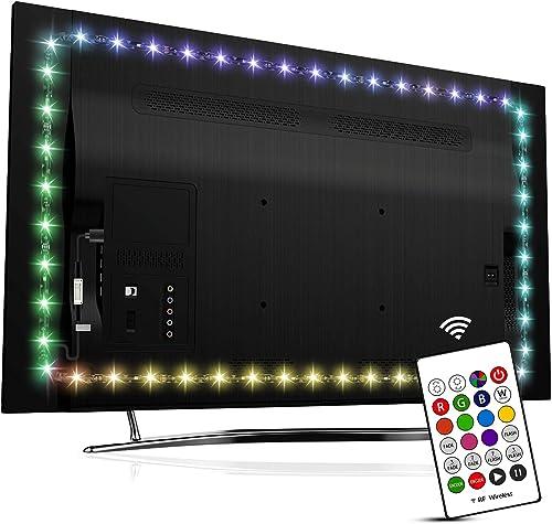 HAMLITE LED TV Backlight for 55 Inch TV Bias Lighting, USB LED Light Strip for TV, Home Theater Decor Kit, RF Remote ...