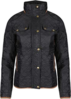 Be Jealous Womens Funnel Neck Warm Winter Quilted Elbow Patches Pockets Jacket