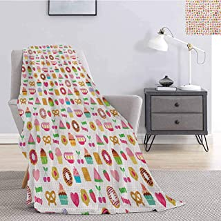 jecycleus Tea Party Bedding Microfiber Blanket Sweets Candies Cookies Fruit and Other Cute Things Festive Cheerful Collection Super Soft and Comfortable Luxury Bed Blanket W60 by L50 Inch Multicolor