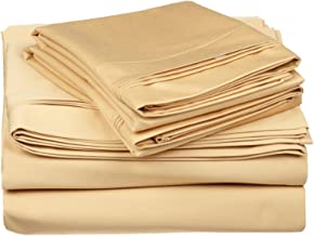 100% Egyptian Cotton 650 Thread Count, King 4-Piece Sheet Set, Deep Pocket, Single Ply, Solid, Gold