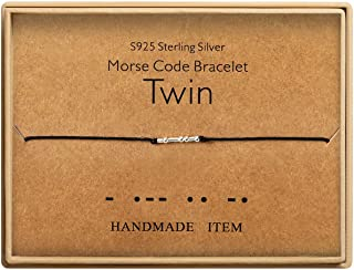 Twins Gift Morse Code Bracelets Sterling Silver Beads on Silk Cord Secret Message birthday gifts for twins