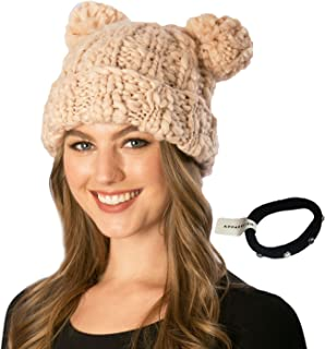 Simonetta Women's Handcrafted Soft Chunky Knitted Double Pom Pom Beanie Hat with Hair Tie.