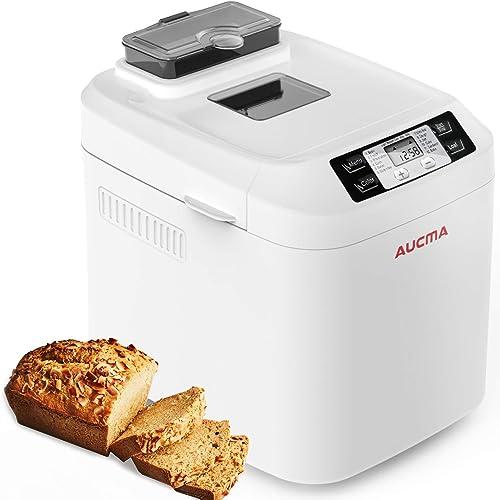 AUCMA Panificadora, Máquina para Hacer Pan con 12 Programas, Panificadora Automática de dispensador,Pan sin gluten,sin BPA, 3 Niveles de Horneado,pantalla LCD y mantener la función cálida product image