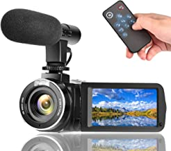 Camcorder Digital Video Camera, Vlogging Camera with Microphone Full HD 1080P 30FPS 24MP 3 Inch LCD Touch Screen 270 Degree Rotation LCD for YouTube Videos with Remote Control