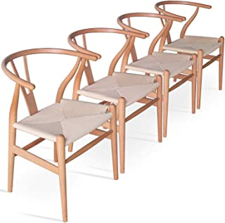 Solid Wood Dining Chair Wishbone Chair Rattan Armchair Y Chair Set of 4