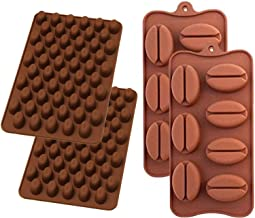 Value Pack 2 X Mini and 2 X Larger Coffee Bean Silicone Mold Bakeware Baking Chocolate Pastry Decoration Ice Candy Jello Making Homemade Mould (Four Pack)