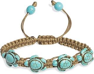 PearlyPearls Turtle Turquoise Women Braided Bracelet Wax...
