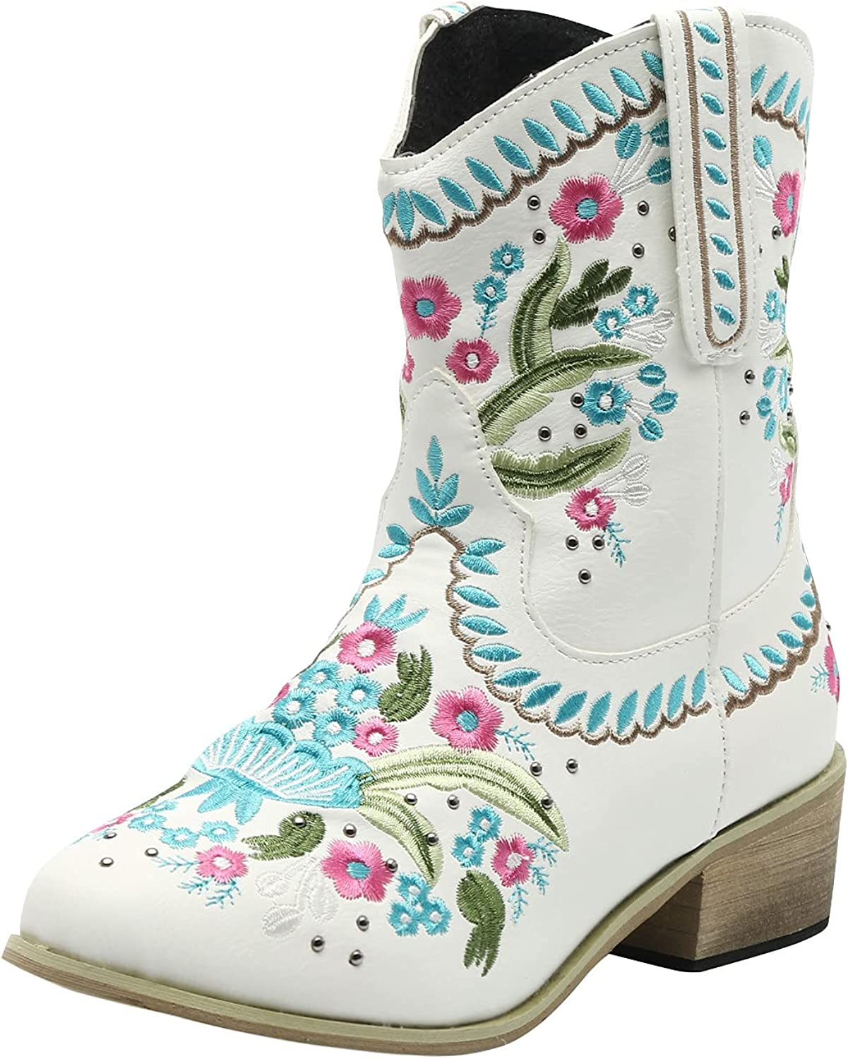 ZiSUGP Cowboy Boots For Women Pointed Toe Modern Western Cowgirl Embroidered Stitched Ankle Boots