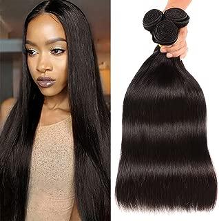 Huarisi 3 Bundles Straight Brazilian Virgin Hair 22 24 26 Inches Human Hair Weaves Extensions Natural Color for Weaving