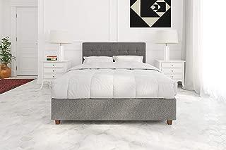 DHP Poppy Tufted Upholstered Platform Bed Frame, Grey Linen, Full