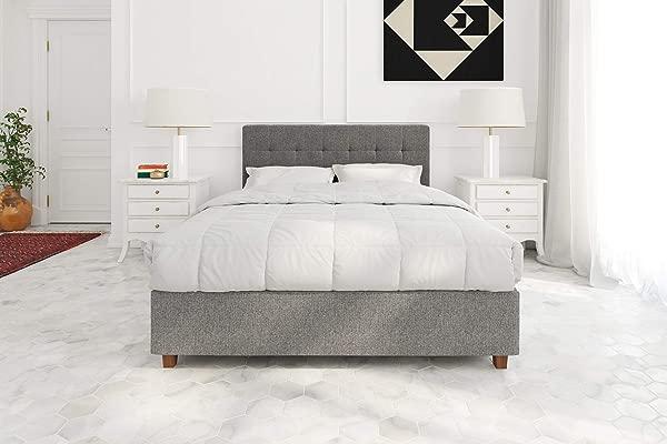 DHP Poppy Tufted Upholstered Platform Bed Frame Grey Linen Full