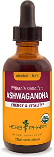 Herb Pharm Certified Organic Ashwagandha Extract for Energy and Vitality, Alcohol-Free Glycerite, 2 Ounce