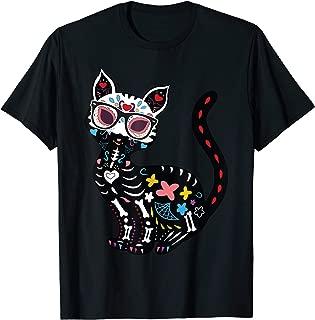 Cute Sugar Skull Mexican Cat Halloween T-Shirt T-Shirt
