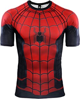 Mens Compression Shirt Marval Spiderman T Shirt Gym Training Tee Workout Tops for Running Sports