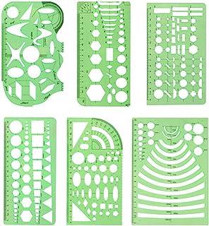6 Stuks Groene Plastic Linialen Geometric Template Ruler Geometric Drawings Templates Multifunctionele Linialen Diverse Sj...