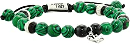 Simulated Malachite Beaded Anchor Charm Adjustable Slider Bracelet