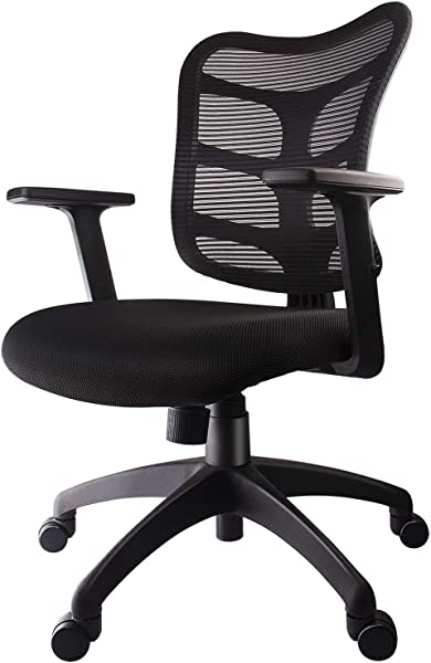 Smugdesk 0581F Ergonomic Office Mesh Computer Desk Swivel Task Chair With Adjustable Armrests Black