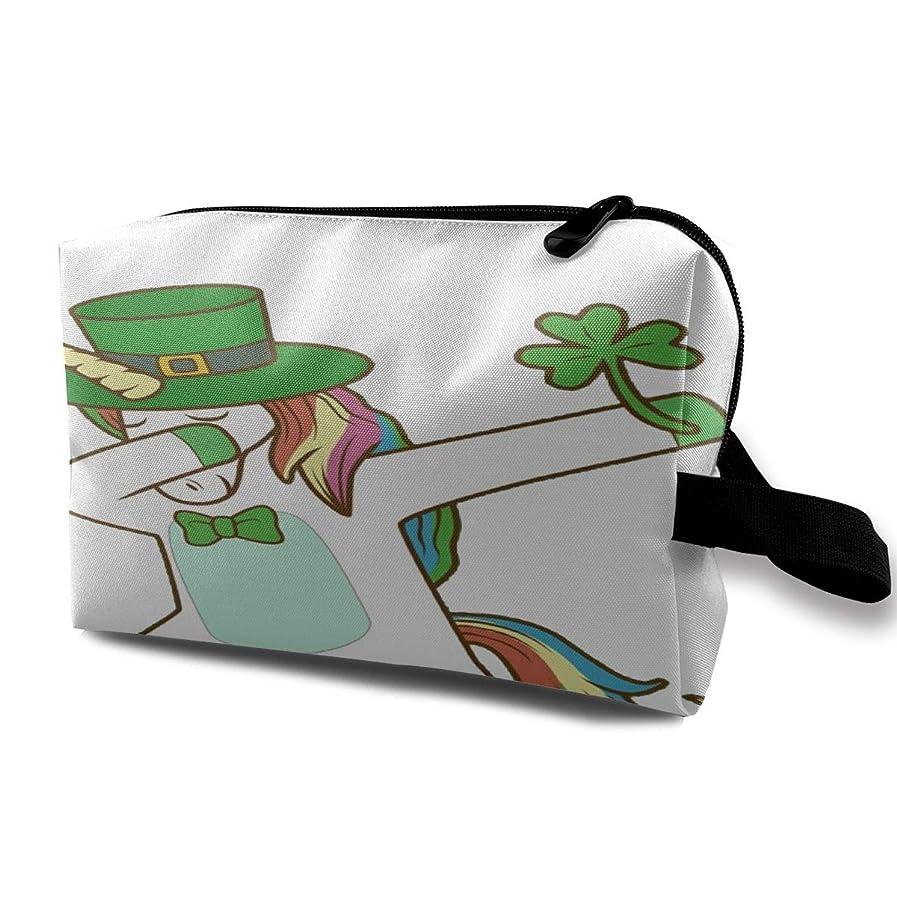 ジャンプするコミットラボDabbing Lepricorn Irish Unicorn 収納ポーチ 化粧ポーチ 大容量 軽量 耐久性 ハンドル付持ち運び便利。入れ 自宅?出張?旅行?アウトドア撮影などに対応。メンズ レディース トラベルグッズ