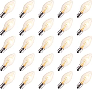 Brightown 25 Pack C7 Christmas Replacement Light Bulbs, C7 Clear Incandescent Bulb for Christmas String Light, E12 Candelabra Base, 5 Watt, Clear