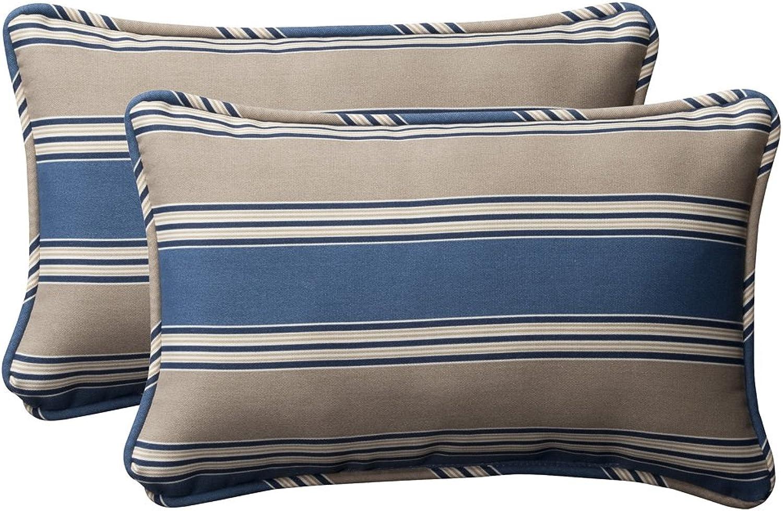 Pillow Perfect Decorative bluee Tan Striped Toss Pillows, Rectangle, 2-Pack