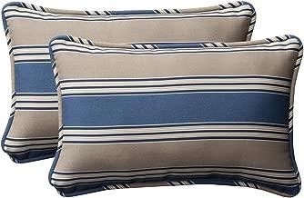 Pillow Perfect Decorative Blue/Tan Striped Toss Pillows, Rectangle, 2-Pack
