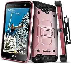LG X Power 2 / LG X Charge/LG Fiesta 2 / LG Fiesta LTE Case, Evocel [Trio Pro Series] Textured Body, Multiple Layers, Kickstand for Model No M327 / L63BL / L64VL / US701, Rose Gold
