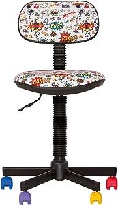 CHAISE-EXPERT bambo- Sedia da Ufficio Bambini ergonomico, Altezza del Sedile 42cm-56cm. Altezza Schienale Regolabile/Girevole a 360°/Ruote Nero. Prezzo Discount.