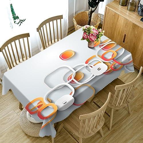 HUANZI Rechteckige Tischdecke 3D überlagerte staubdichte Tischdecke Polyester-Tischdecke Polyester der runden Digital, Rectangle - Wide 178cmx Long 274cm