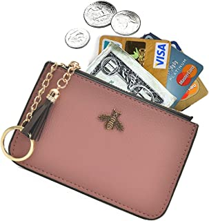 Coin Purse Change Wallet Pouch Leather Card Holder with Key Chain Tassel Zip(Pink)