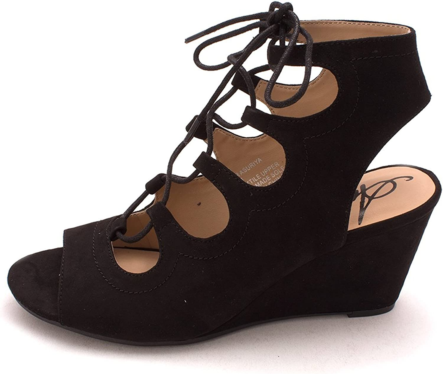 American Rag Womens Asuriya Fabric Open Toe Casual Strappy, Black, Size 7.0