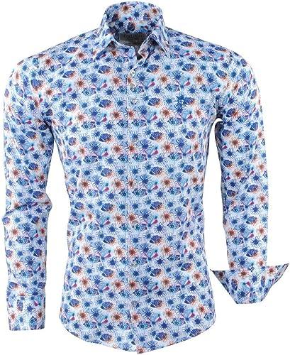 Ferlucci - Chemise pour Homme - Fleurs - Calabre - Blanc - Bleu