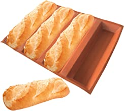 """Bluedrop Silicone Bread Forms 12"""" Hot Dog Bread Molds Non Stick Silicone Coated Fiber Glass Bakery Trays Sub Roll Moulds"""