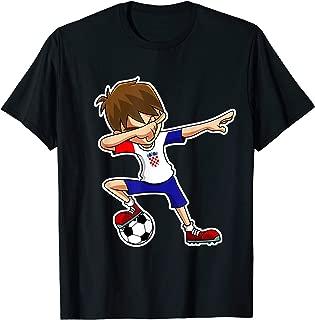 Dabbing Soccer Boy Croatia Jersey, Croatian Kids Dab Gifts T-Shirt