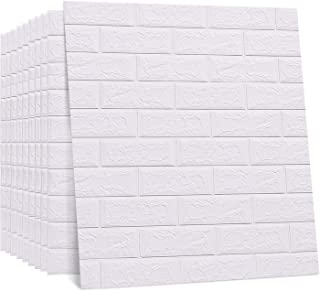 Regetek 3D Brick Wallpaper Wall Stickers Peel and Stick Self-Adhesive Faux Brick Wallpaper for Interior TV Walls/Sofa Background Wall Decor DIY Easy Installation (White Brick 20 Pack 116.26 sq.ft)
